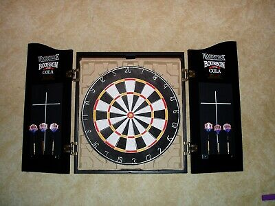 Woodstock Bourbon Dartboard Cabinet Set With 6 Darts