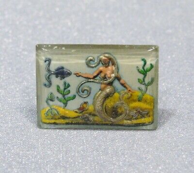 Vintage VERY RARE Reversed Carved Intaglio Glass Victorian Mermaid Cabochon