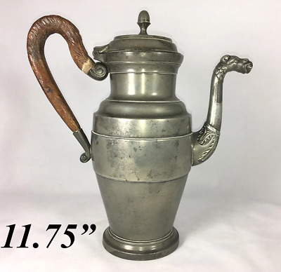 "HUGE Antique French Empire 11.75"" Tall Coffee Pot, Wood Handle, Figural Spout"