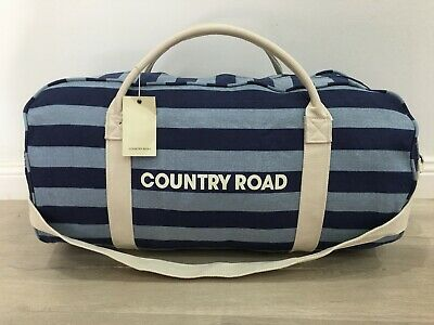 BNWT genuine Country Road woman man unisex canvas BLUE STIPE tote bag overnight