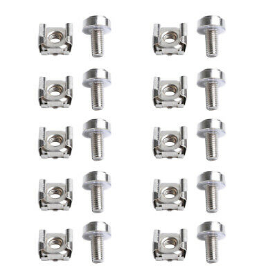 Square Clips Server 20 Pack Lot M6 Rack Mount Cage Nuts /& Screws w//Washers