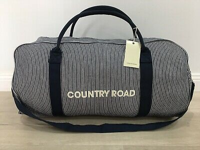 BNWT genuine Country Road woman man unisex canvas STRIPE tote bag overnight
