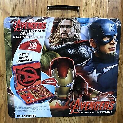 Stationary Art Set Marvels Avengers Age Of Ultron Deluxe Tatoo Crayon Kit - NEW
