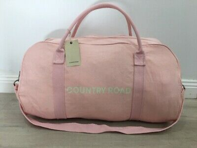 BNWT genuine Country Road woman man unisex canvas PINK tote bag overnight