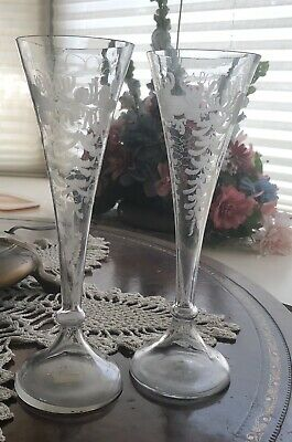 Pair of 19th Cent. Wheel Etched Blown Glass Champagne Flutes/Trumpet Vases