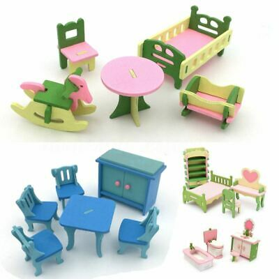 4 Lots Wooden Dolls House Miniature Accessory Home Furniture Children Toys  X6H7