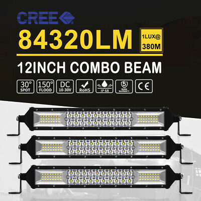 3X12inch LED Light Bar Spot Flood Combo DUAL Rows Lamp Driving Offroad SUV Truck