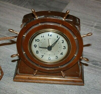 Vintage 1940's Seth Thomas Ship Wheel Helm Clock Workng Nautical Brass & Wood
