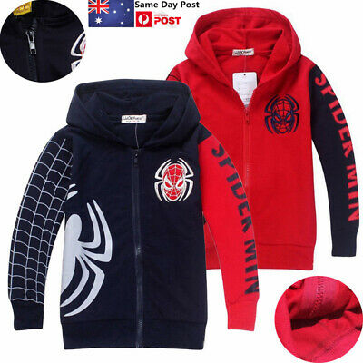 Kids Boys Spiderman Hoodie Jacket Coat Hooded Hoody Sweatshirt Zip Tops Outwear