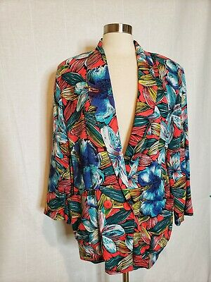 80s Vintage Womens Blazer Floral All Over Size Medium Tropical Bold Oversized