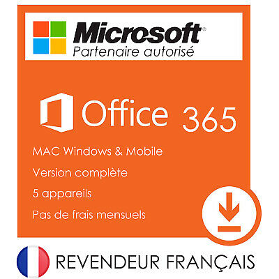 Office 365 avec Office Pro 2019 (Word, Excel, Outlook..) version FRANCE - Mac/PC