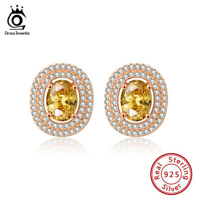S925 Silver Yellow Cubic Zirconia Stud Earrings Rose Gold Plated Girls Jewelry