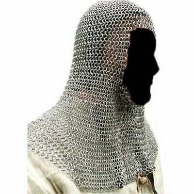 HALLOWEEN Medieval Knights Clothing Butted Aluminium Chain Mail Coif Ring Hood