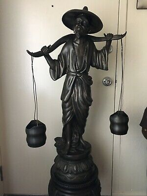"""Vintage Bronze Asian Man Carrying Water Buckets 40"""" Tall"""
