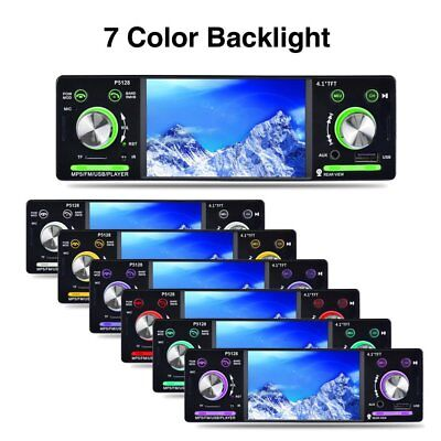 """4.1"""" HD LCD Touch Screen Car MP5 Player 1080P 7 Color Button FM/AM/RDS Tuner TT"""