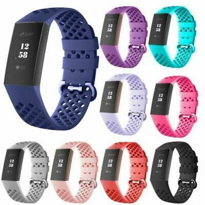 For Fitbit Charge 3 Watch Band Replacement Silicone-Breathable Wrist Bracel E7E2
