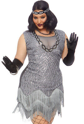 Black Roaring 20s Prohibition Shimmery Flapper 1920s Adult Costume