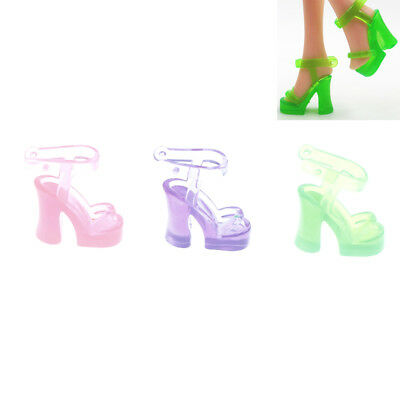 10 Pairs  Shoes Doll Jelly Crystal Shoes  Dolls Accessories Gift -PN