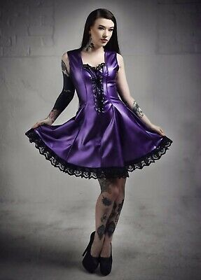 Misfitz pearlsheen purple rubber latex skater dress size 8-32/made to measure TV