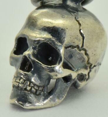 Antique 19th Century Victorian Sterling Silver Skull charm pendant fob.Rare.11mm