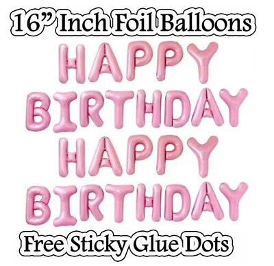 "HAPPY BIRTHDAY16""inch SELF-INFLATING BALLOON BANNER BUNTING PARTY LARGE BALOONS"