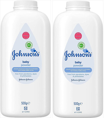 2 x Johnsons Baby Powder 500g Each Pure & Gentle Talc No Parabens Dyes Phthalate