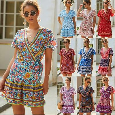 Women Ladies Boho Beach Short Sleeve V-Neck Mini Maxi Dress Summer Holiday Sexy