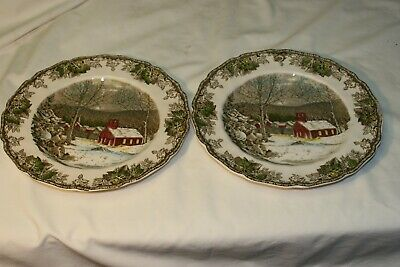 "2 Johnson Bros Friendly Village  The School House  9.85"" Dinner Plates -4 Avail"