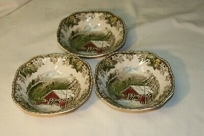 "3 Johnson Bros. ""Friendly Village"" 'Covered Bridge'  6 1/4"" Cereal  Bowls - Exce"