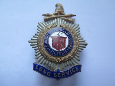 VICTORIAN COUNTRY FIRE BRIGADE LONG SERVICE BRASS & ENAMEL BADGE 1920s EXCELLENT