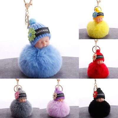 HN- Knitted Hat Sleeping Baby Doll Pompom Charm Key Ring Keychain Bag Pendant Cl