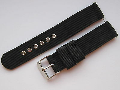 Gents 18mm Black Nylon Military Style Watch Strap-Stainless Steel Buckle & Pins