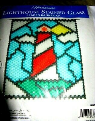 """""""Lighthouse Stained Glass""""    Beaded Banner Kit"""