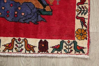 Pack of 2 Abadeh Pictorial Oriental Area Rug Wool Hand-Knotted RED Carpet 2x4
