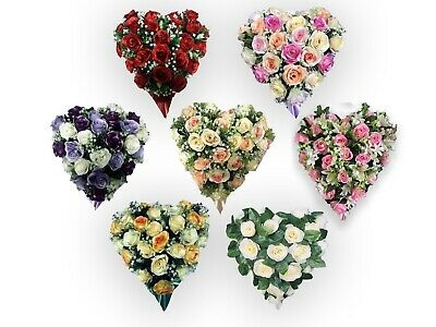 HEART ROSE BUDS 15 x 15 FLORAL TRIBUTE SILK ARTIFICIAL FUNERAL MEMORIAL WREATH