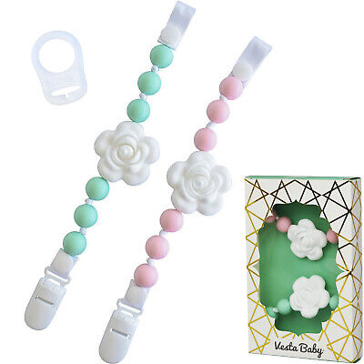 ❤  Vesta Baby Silicone Pacifier Clip and Teether Holder Set (Mint & Pink) ❤