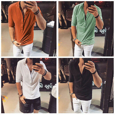 Men's Button V Neck Half Sleeve T Shirt Summer Casual Solid Cotton Slim Fit Tops