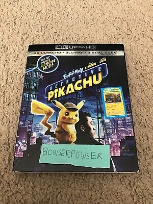 Pokemon Detective Pikachu 4k 2019 W Case Slipcover & Artwork. No Dvd/digital.