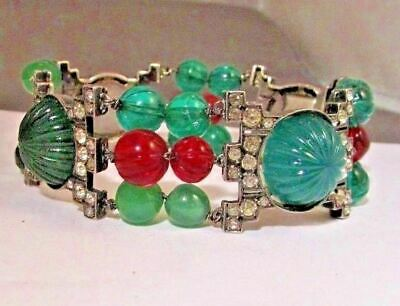 Vintage Jewelry French Art Deco Sterling Paste Rhinestone & Glass Bracelet Rare
