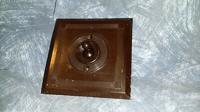 Vintage Bakelite Light Switch Square Plate Art Deco Antique Brown Old Toggle