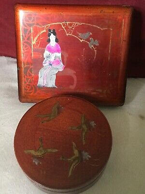 Antique Chinese Laquered Boxes Seated Female & Bird and Red Birds in Flight