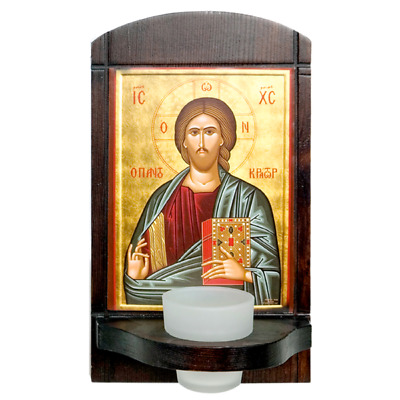 "10"" Byzantine Our Lord Jesus Christ Pantocrator Icon Greek Orthodox Wall Shrine"