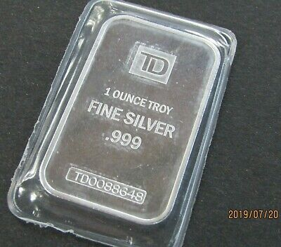 TD Bank SILVER BAR 999 Serial # on each bars Sealed by The MINT