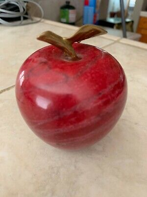 Realistic Red Apple Paperweight Alabaster Marble Stone w Brass Leaf