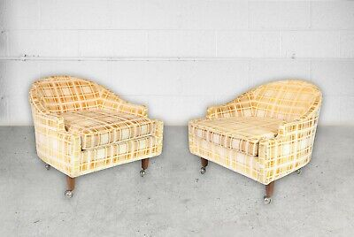 "2 Mid Century Barrel/tub Chairs On Brass Casters - Pearsall ""cloud Chair"" Style"