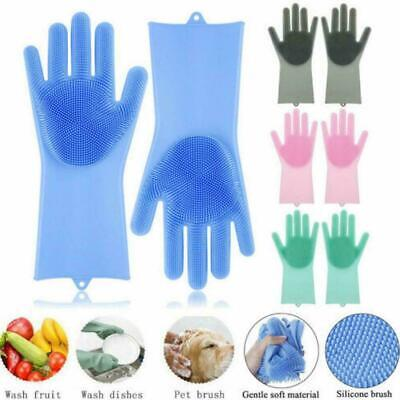 1Pair Magic Silicone Rubber Dish Washing Gloves Scrubber Brush Cleaning Kit X5S9