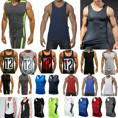 Mens Sleeveless Tank Tops Fitness Vest Training Sport Compression Muscle T Shirt