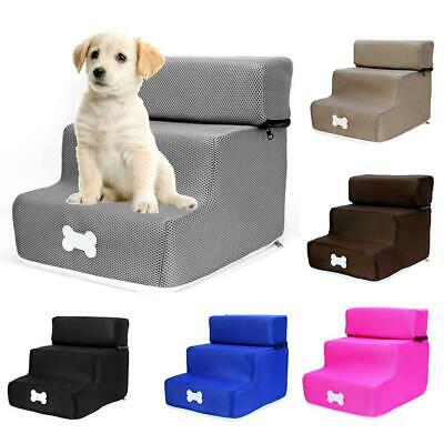 Pet Dogs Cat Stairs Kitten Puppy 3 Step Climb Ladders Cushion for Couch Bed