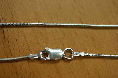 """16"""" 1.2mm Solid 925 Sterling Silver Round Snake Chain Necklace Made in Italy"""
