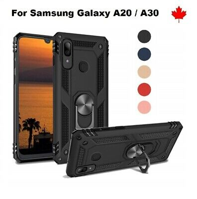 """For Samsung Galaxy A20 (6.4"""") Ring Armor Stand Hybrid Shockproof Hard Cover Case"""